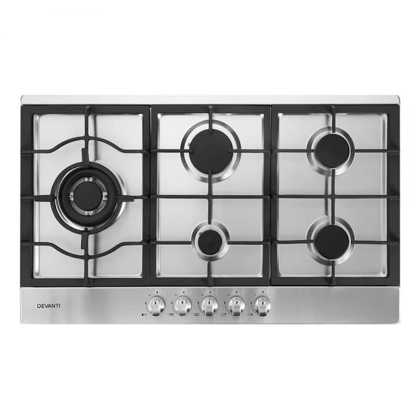 Devanti Gas Cooktop 90cm Kitchen Stove Cooker 5 Burner Stainless Steel NGLPG Silver