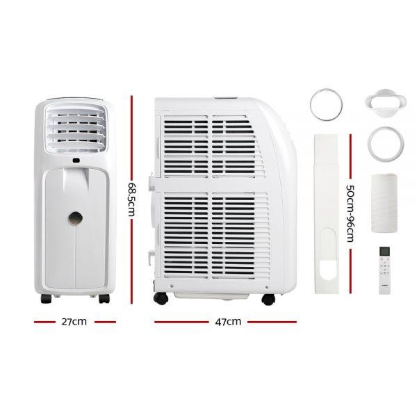 Devanti Portable Air Conditioner Cooling Mobile Fan Cooler Remote Window Kit White 2000W