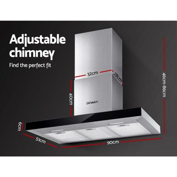 Devanti Range Hood 900mm Rangehood 90cm Stainless Steel Glass Kitchen Canopy Black