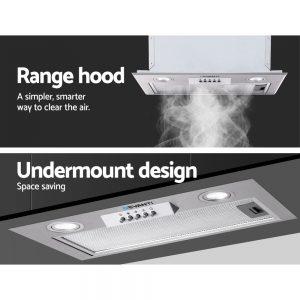 Devanti Range Hood Rangehood Undermount Built In Stainless Steel Canopy 52cm 520mm