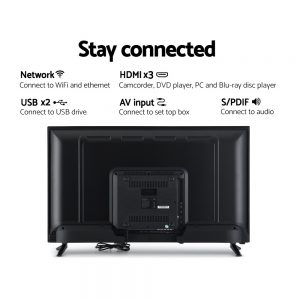 Devanti Smart TV 40 Inch LED TV 402K Full HD LCD Slim Screen Netflix Dolby