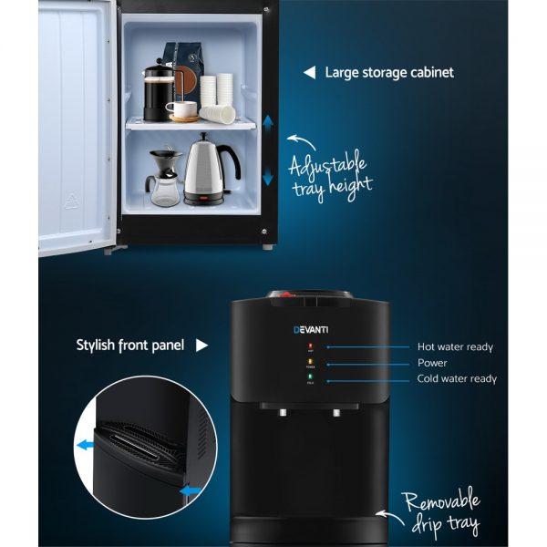 Devanti Water Cooler Dispenser Mains Bottle Stand Hot Cold Tap Office Black