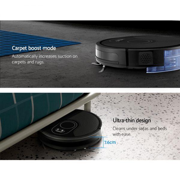 Robot Vacuum Cleaner Smart Robotic Carpet Mop Floor Dry Wet Brushless Motor Black